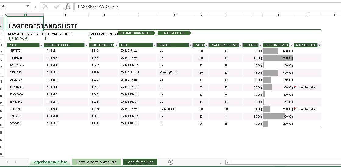 Kostenlose Excel Inventar Vorlagen 12