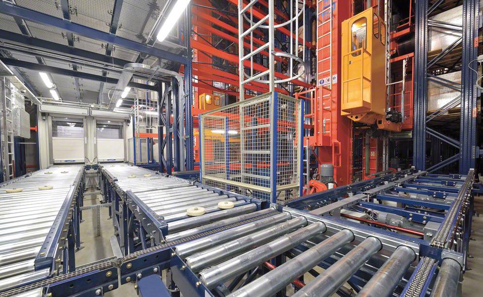 Die Verbindung mit dem Lagerinneren erfolgt mithilfe eines doppelten Förderkreislaufs (Eingänge und Ausgänge)