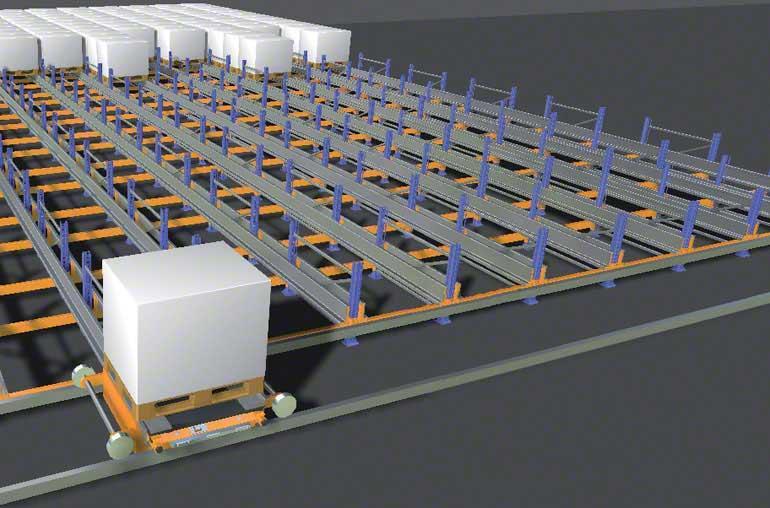 Simulation der kombinierten Bewegung eines Pallet Shuttles und eines Verfahrwagens.