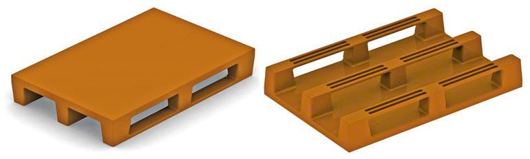 Diese Kunststoffpaletten stimmen in ihrer Bauart mit den Europaletten aus Holz überein.