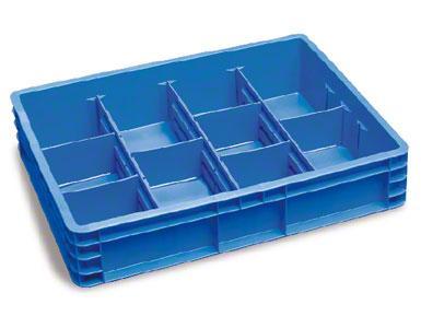 Die Boxen können in Bereiche aufgeteilt werden, sodass unterschiedliche Produktarten gelagert werden können, ohne diese zu vermischen.