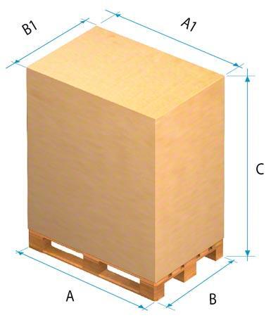 Abmessungen für palettierte Ware