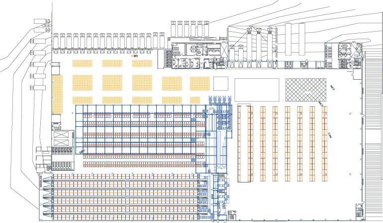 Lagerplanung: Skizze der unterschiedlichen Sektionen eines Zentrallagers.
