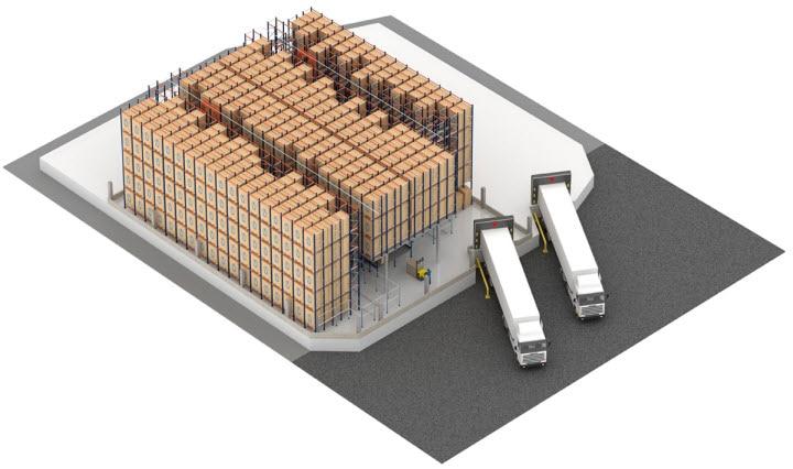 Automatisches Pallet Shuttle-System mit Regalbediengerät im Lager von Pastelaria e Confeitaria Rolo