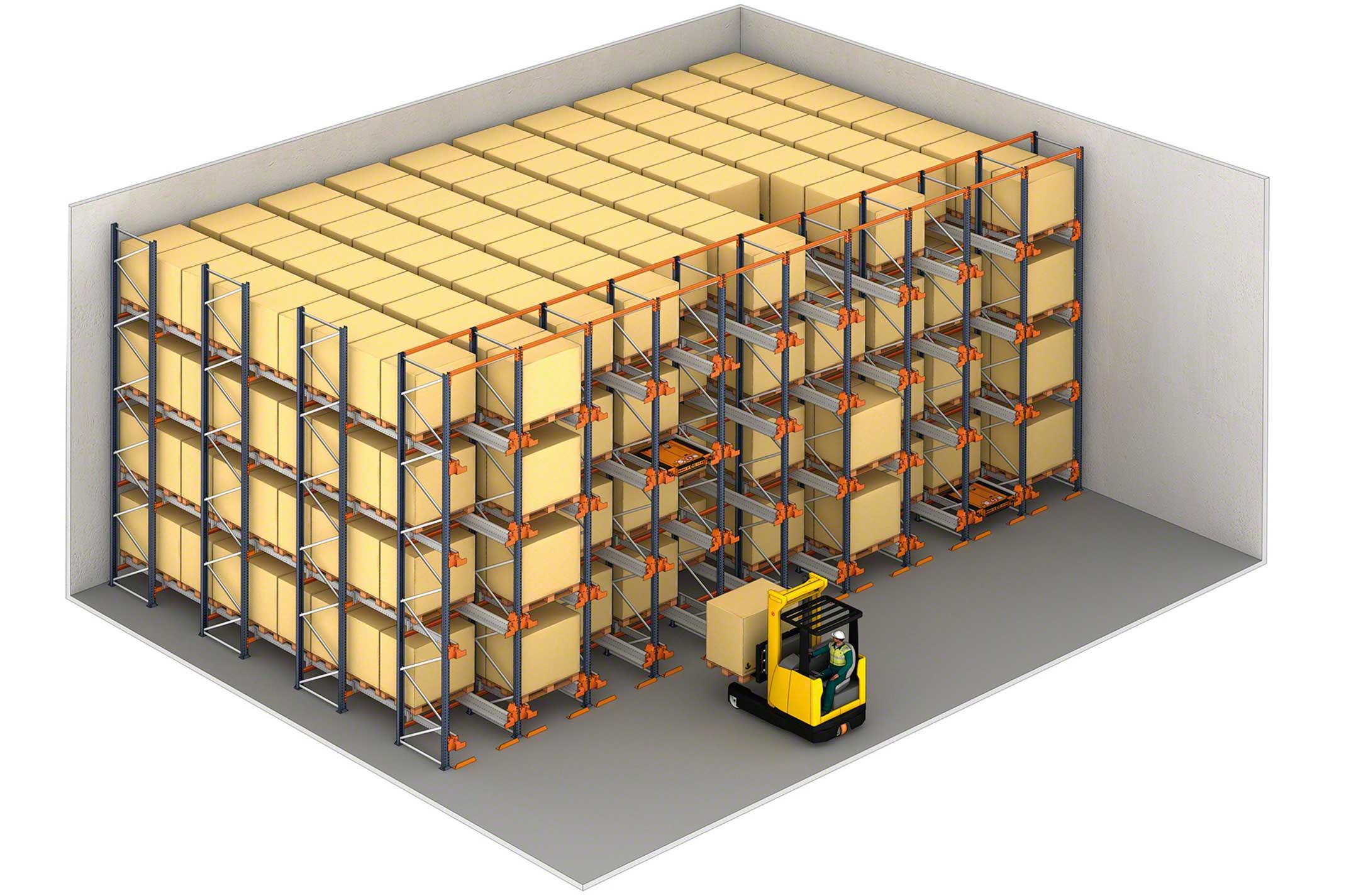 Beispiel für ein Kompaktlager mit Pallet Shuttle und Kommissionierungsebene