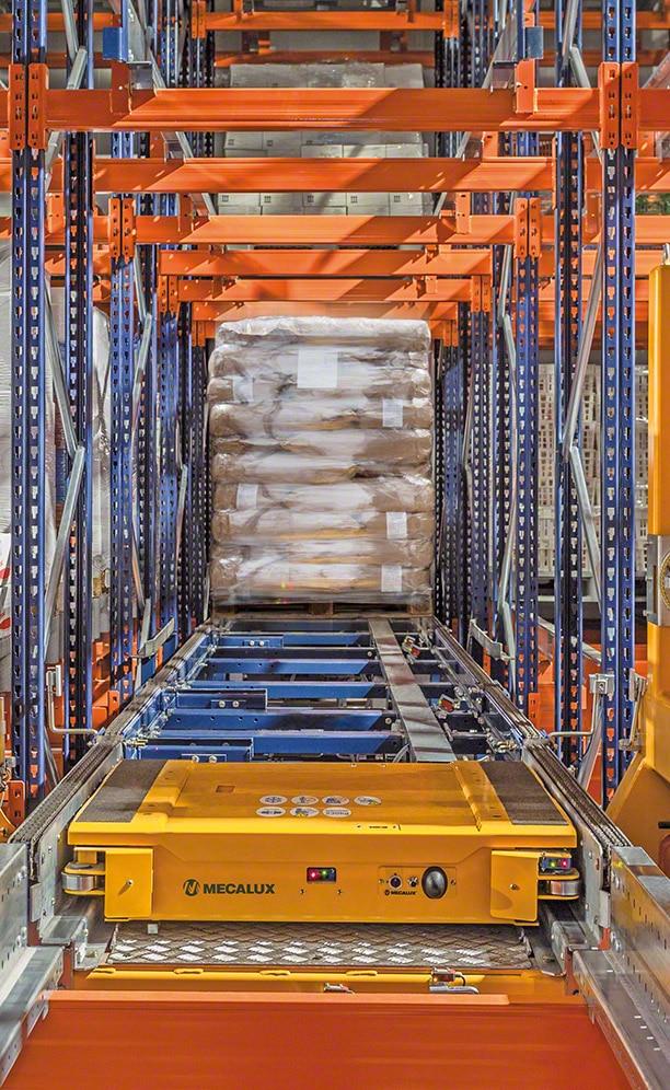 Regale, die mit dem automatischen Pallet-Shuttle-System von ANL beladen werden