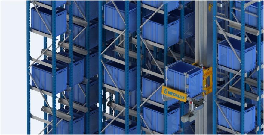 Ein automatisches Kleinteilelager im Logistikzentrum von Clics in Belgien