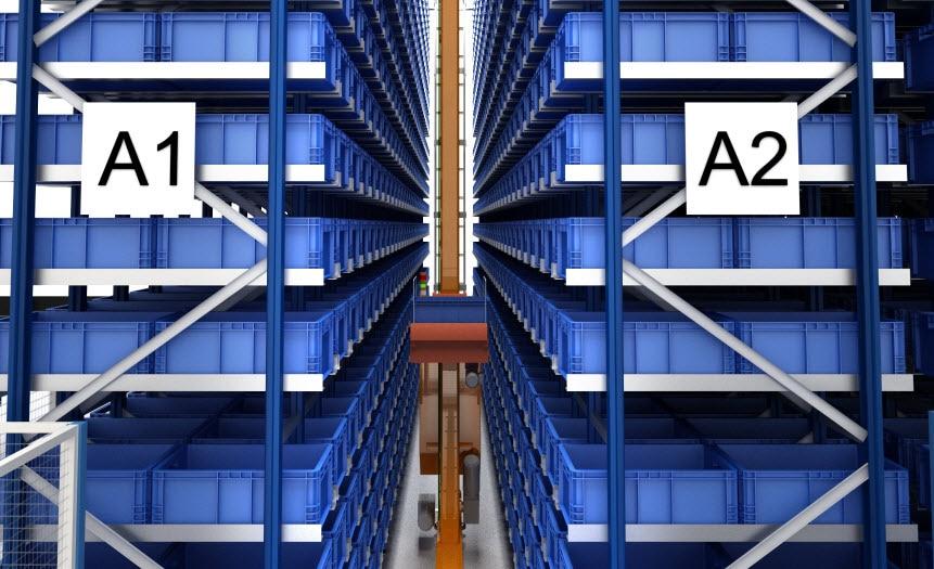 Automatisierte Verwaltung von über 7000 Behältern mit Autoteilen